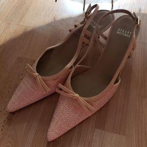 Stuart Weitzman pointy toe kitten heel dress shoe